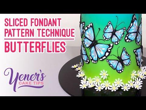 Yeners Sliced Fondant Pattern Technique - BUTTERFLIES | Yeners Cake Tips with Serdar Yener