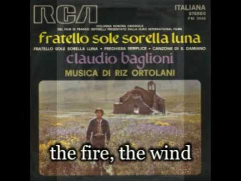 Brother Sun Sister Moon - differences between the english and the italian song