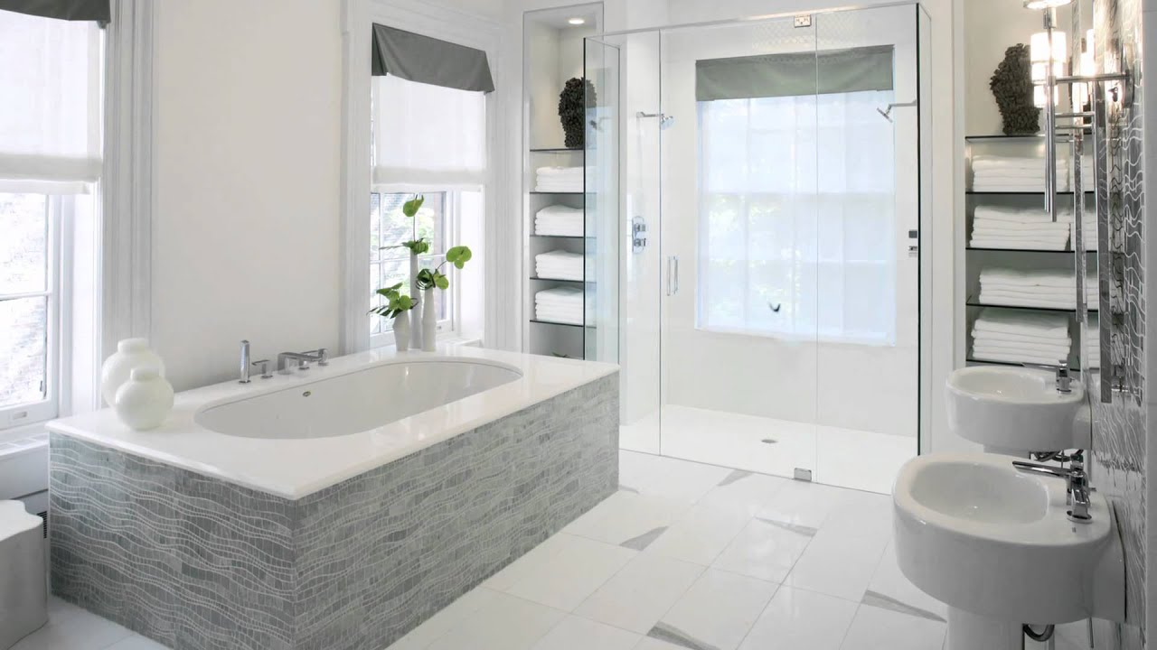 Bathroom renovation including wave shaped Sinuous mosaic tiles in
