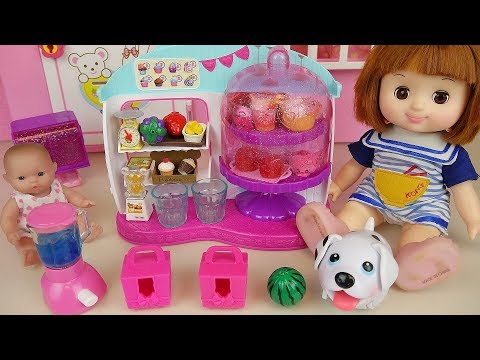 Baby Doll shop surprise toys and pet puppy play