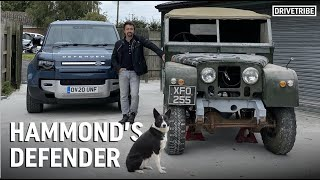 Richard Hammond takes his dog for a walk in the new Defender