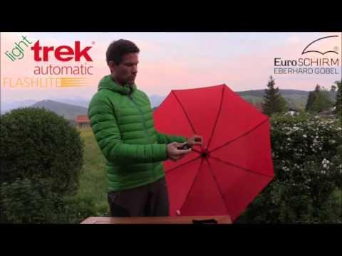 Euroschirm Light Trek Umbrella Mesmerizing EuroSCHIRM Light Trek Automatic Flashlight Umbrella Campmor YouTube