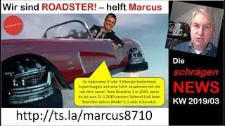 Wir sind Roadster, Kona vs. E-Niro, Wo bleibt mein Model 3? (NEWS KW03/2019) | nextmove