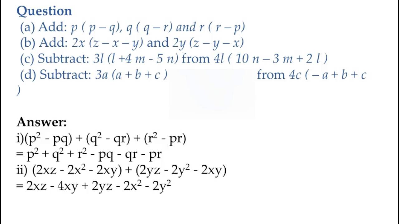 small resolution of Algebraic Expressions and Identities notes Class 8 CBSE
