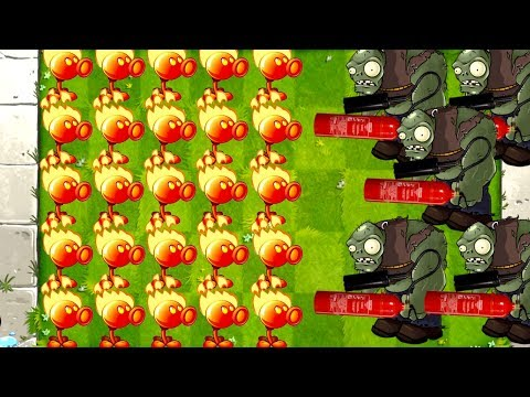 MAX Level Fire Peashooter vs Mega Gargantuars in Plants vs Zombies 2