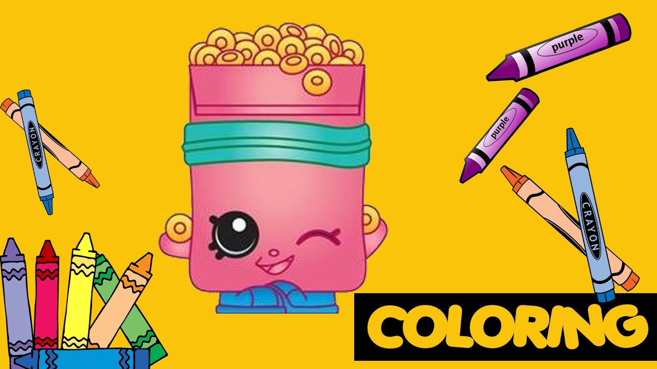 Shopkins giant coloring book - Coloring Breaky Crunch Shopkins Giant Coloring Book Page Crayons Coloring Song Kids