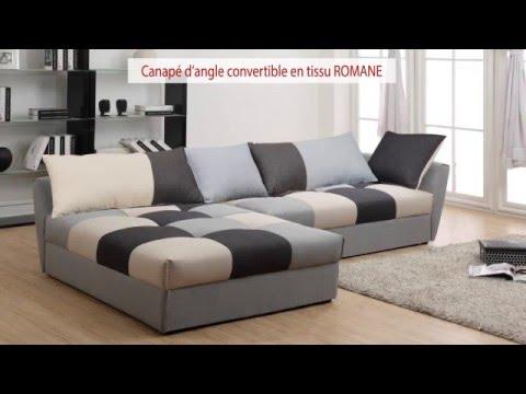 Canap d 39 angle convertible en tissu romane youtube - Canape d angle convertible couchage quotidien ...