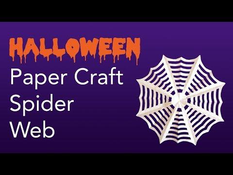 Easy Kids Halloween Paper Craft Spider Web Tutorial (Kirigami / Paper Cutting)