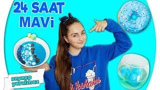 24 SAAT BOYUNCA TEK RENK HER ŞEY MAVİ!!! ( Mavi Acai Bowl Tarifi - Mavi Donut )  )