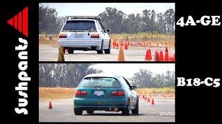 AutoX Battle! - B18 Civic vs 4AGE Corolla