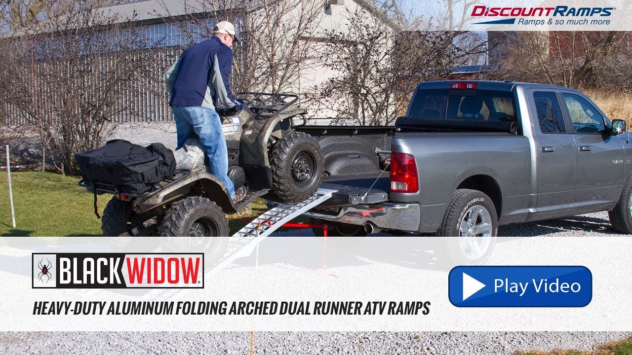 Atv Truck Ramps >> Heavy Duty Aluminum Folding Arched Dual Runner Atv Ramps Youtube