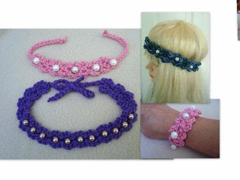 DIY, Crochet Pearl Headband, or Bracelet - YouTube