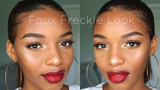 Faux Freckles + Bold Red Lip | Makeup Tutorial | Flawhs
