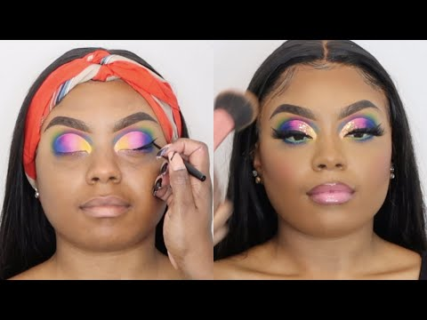 Full Hair and Makeup Tutorial | OMBRE CUT CREASE | FT. African Mall Hair