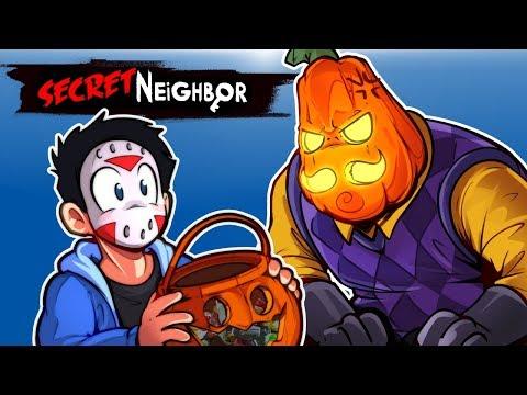 Secret Neighbor - HALLOWEEN UPDATE! (PUMPKIN CHAOS) 1V5!