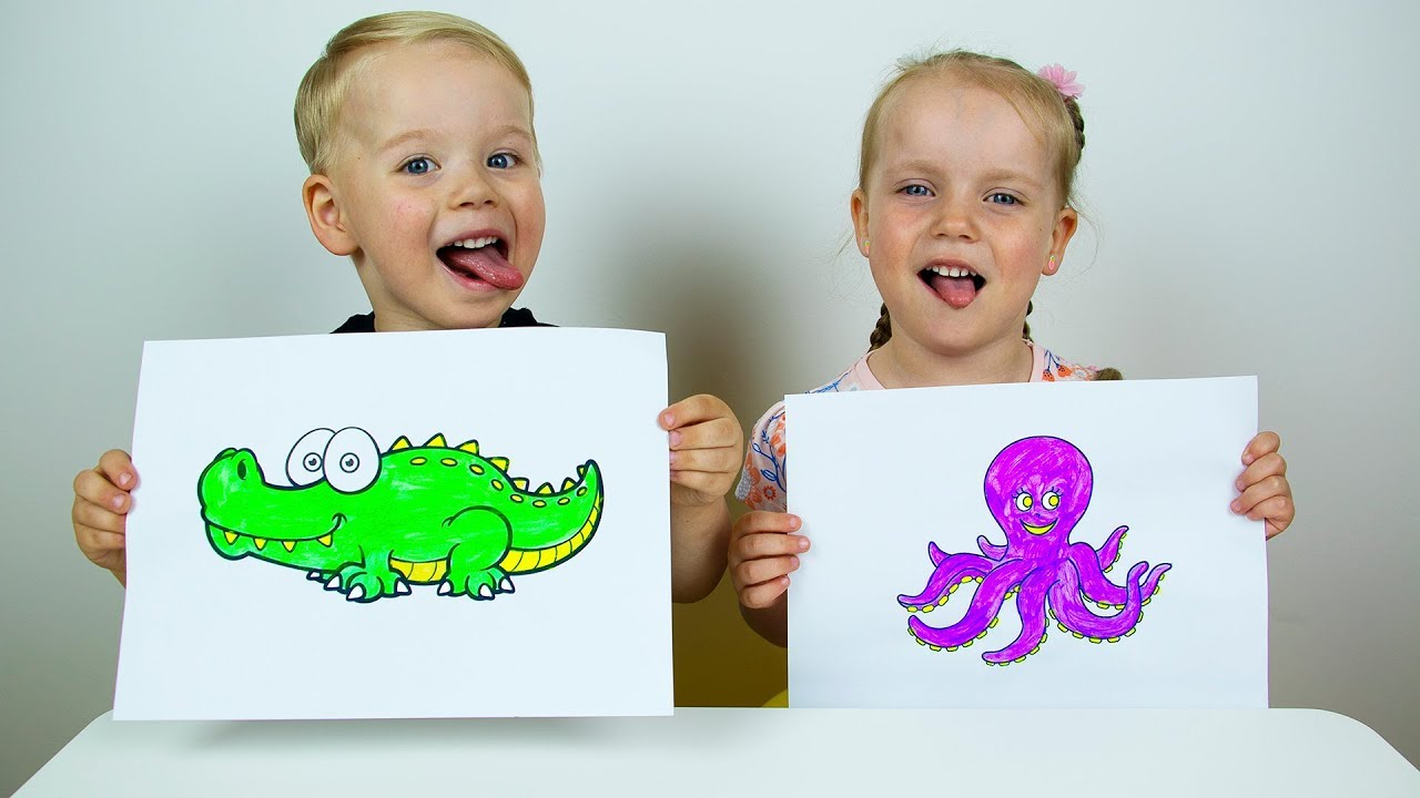 Learn colors with Finger Paints and Coloring. Educational video for kids children toddlers