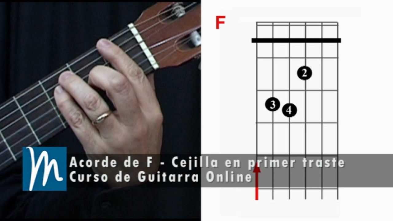 Acorde De F La Cejilla En La Guitarra Youtube