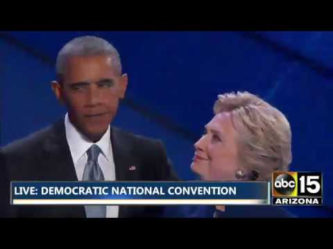 Hillary Clinton surprises 2016 Democratic National Convention after President Obama speech