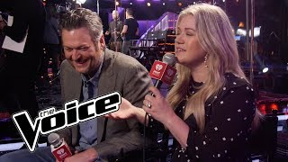 blake-shelton-kelly-clarkson-talk-about-their-rivalry-on-the-voice,-the-block-button-more