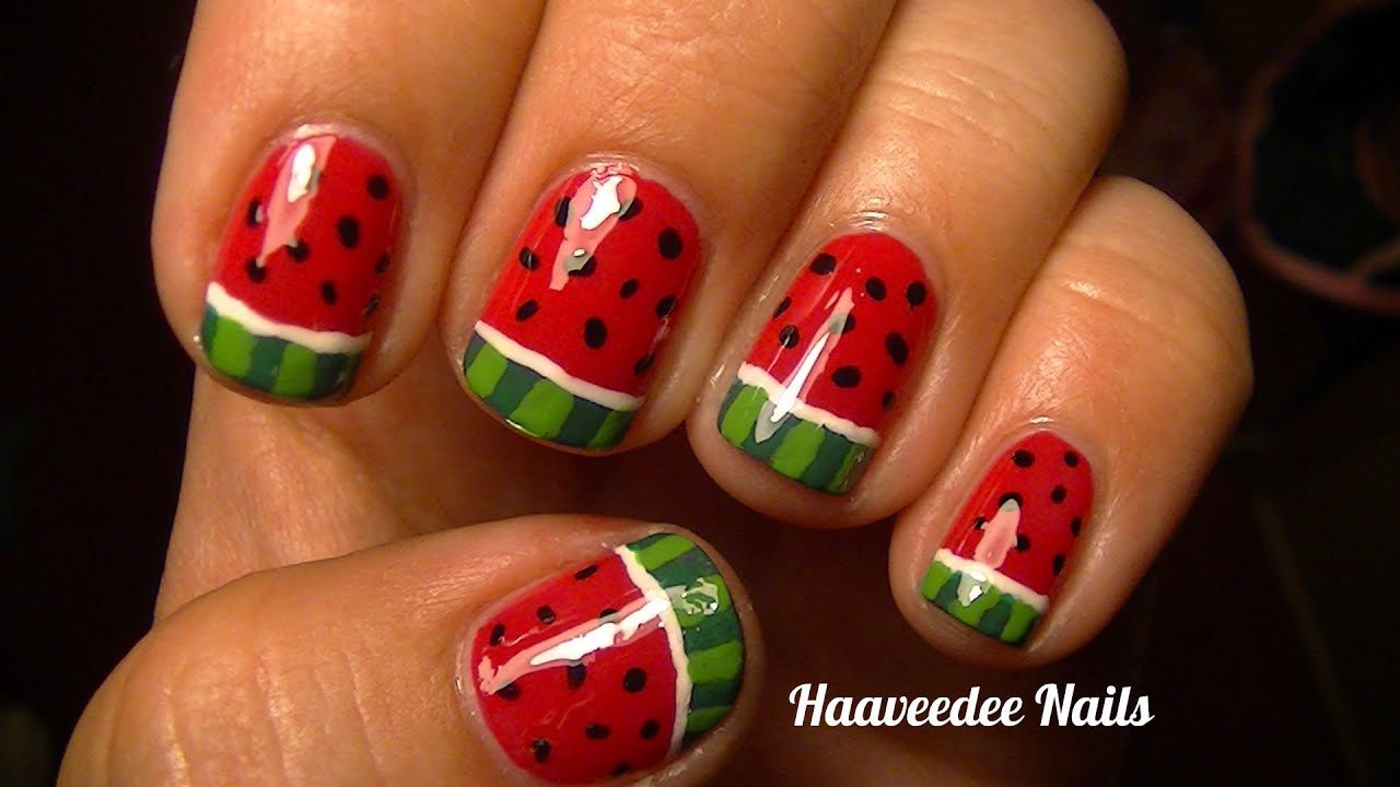 Watermelon nail art youtube prinsesfo Images
