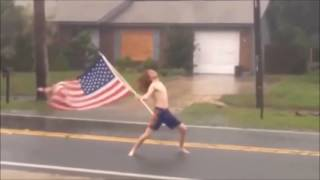 College student rocks outs in the middle of hurricane Matthew