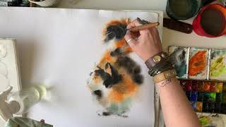 Cat Watercolor Painting, Time Lapse video process by CanotStopPainting