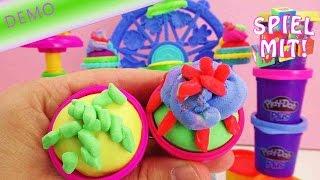 Play Doh Deutsch Demonstration - Play Doh Cupcake Karusell Set mit bunten Farben