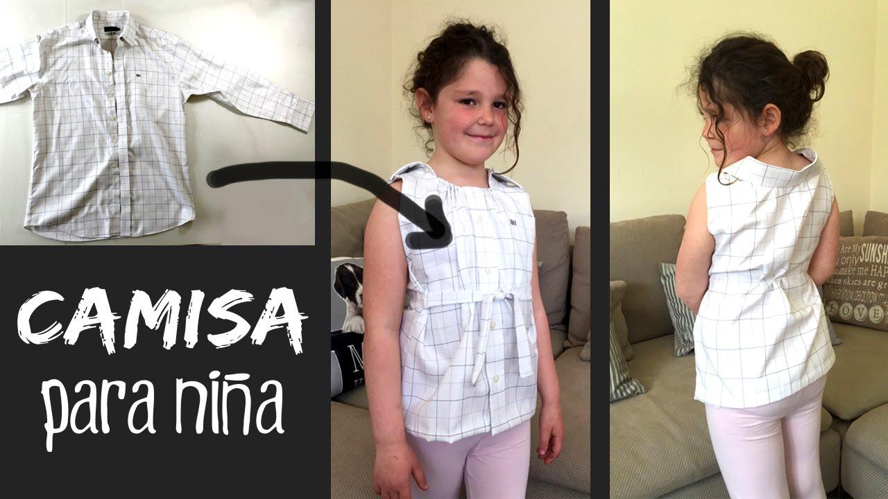 a312bf31e CAMISA reciclada para niña   Cómo RECICLAR una camisa de adulto - YouTube