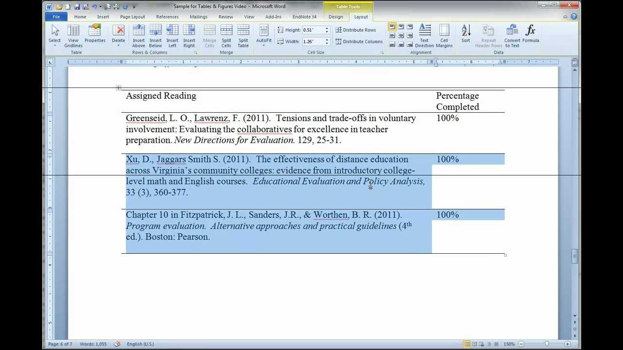 formatting apa tables in ms word