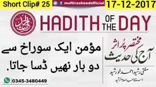 Momin aik soorakh say doobara nahee dasta Mufti Rasheed Ahmed