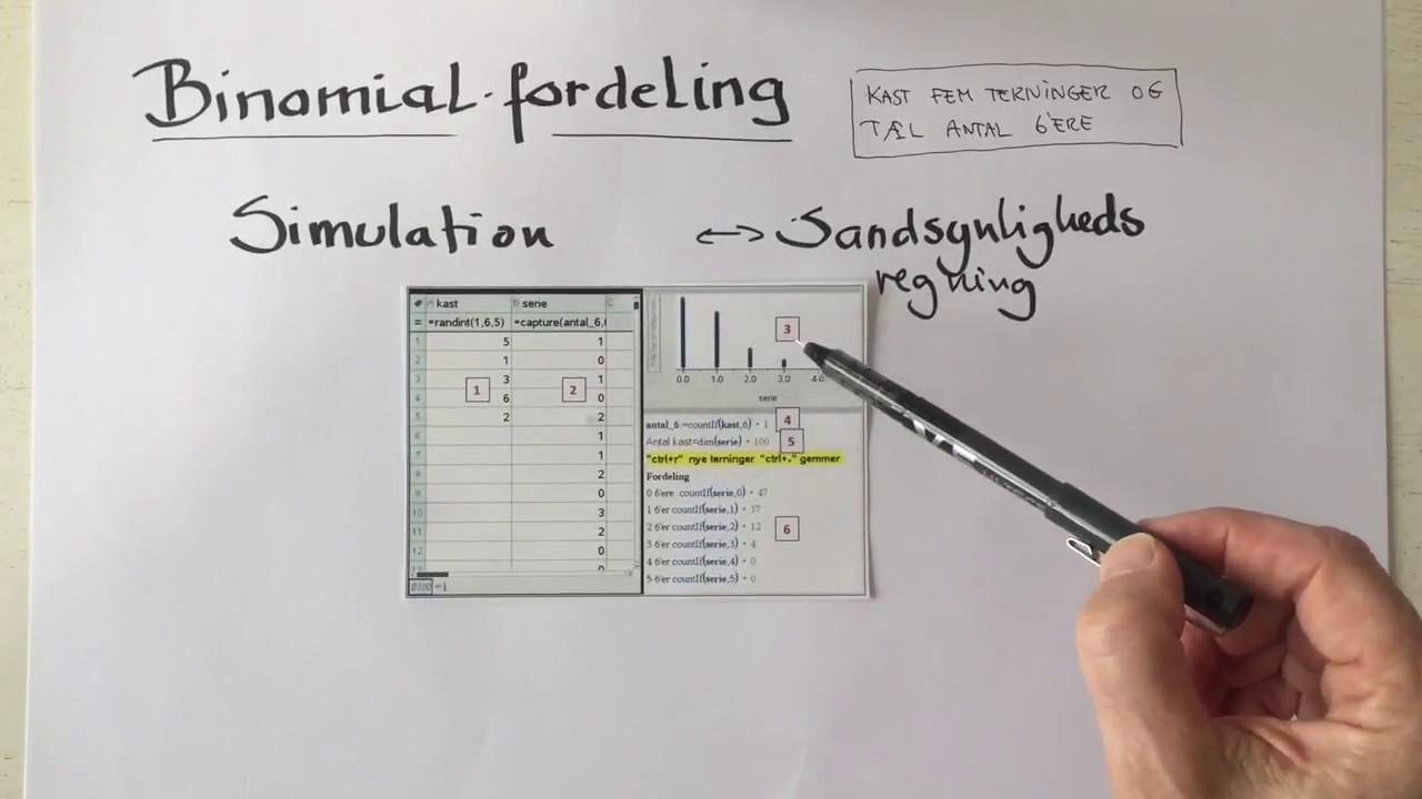 Binomialfordelingen - simulation eller sandsynlighedsregning