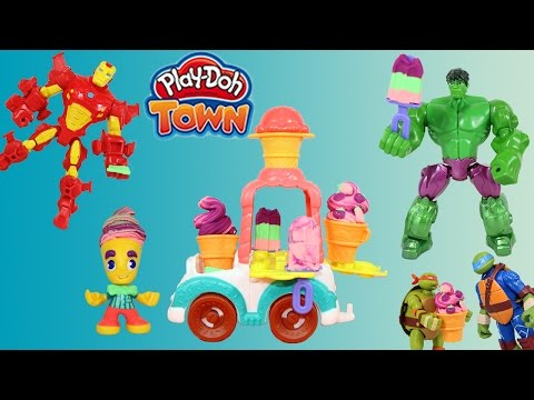 Play-Doh Town Ice Cream Truck,  Hulk, Iron Man, and Ninja Turtles are hungry for ice cream.