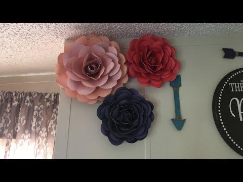 Paper Rose Flower Tutorial for Beginners/FREE TEMPLATE&MEASUREMENTS!/Cut W/Cricut
