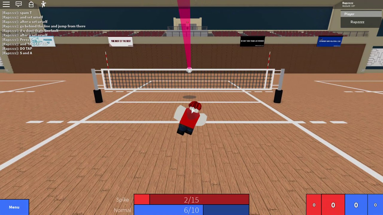 How To Spike Serve In Roblox Volleyball Volleyball 4 2 Youtube