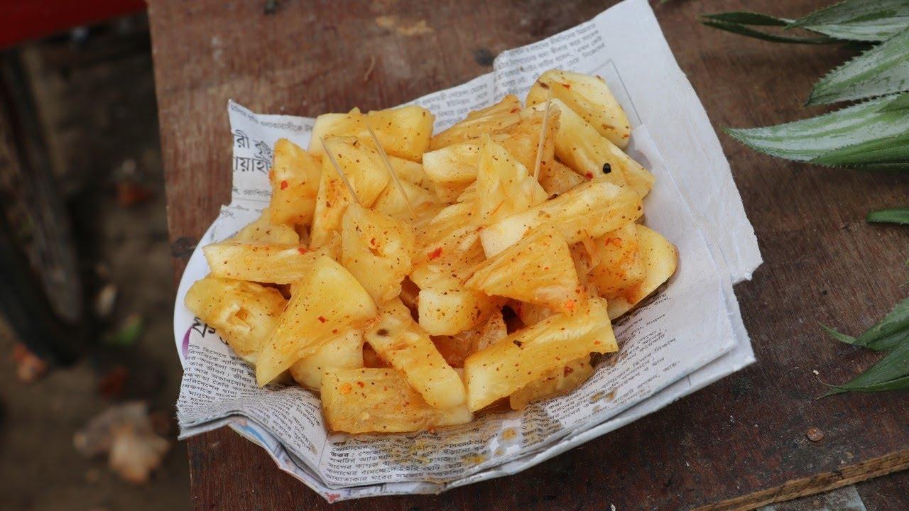 Ana Ros Videos road side healthy & tasty masala pineapple (anaros)