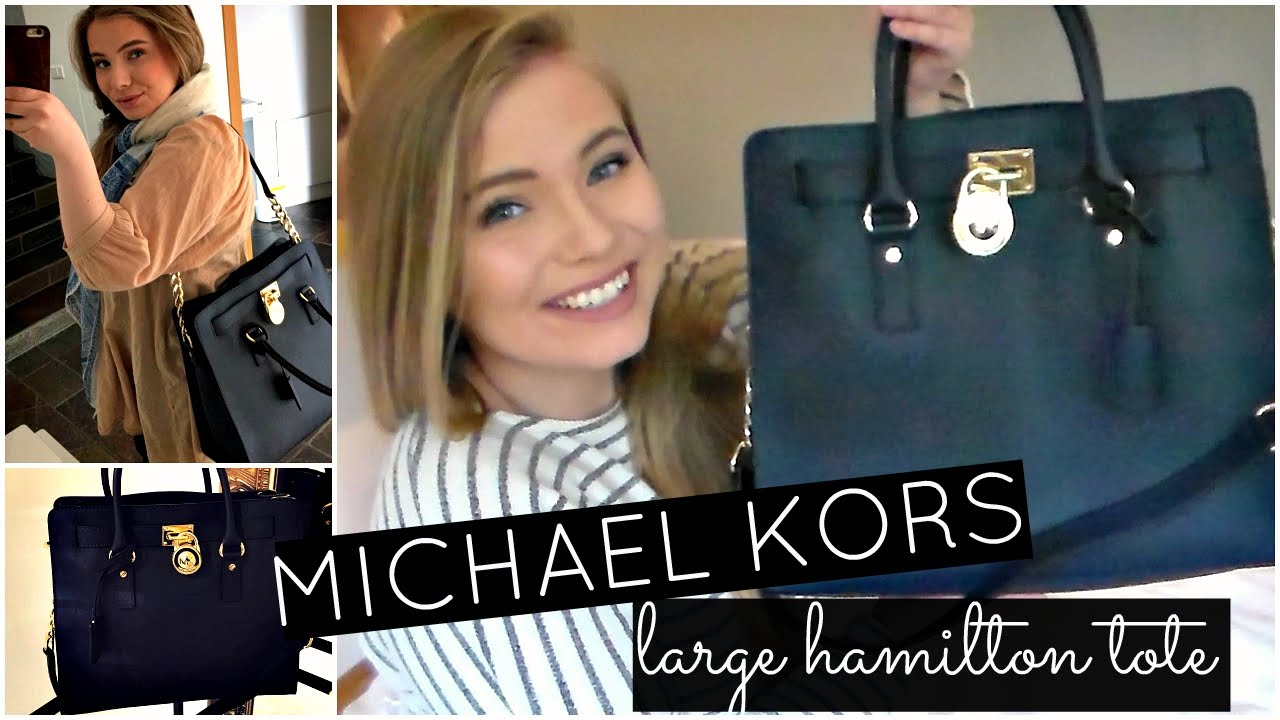 42addd7e42b6 MICHAEL KORS Large Hamilton Tote Unboxing + Overview! - YouTube