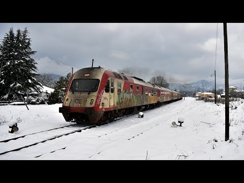 Trains in snowy eastern Macedonia. February 2018.