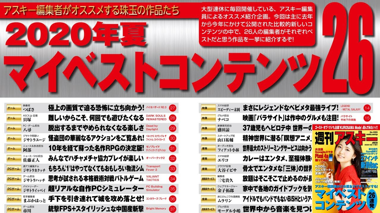 2020年夏 マイベストコンテンツ26 ほか「週刊アスキー」電子版 2020年8月11日号