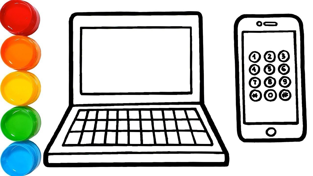 Laptop & Iphone Drawing and Coloring Pages for Kids | vẽ ...