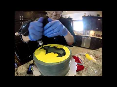 Batman Cake Buttercream Painting An Alternative To Fondant Youtube