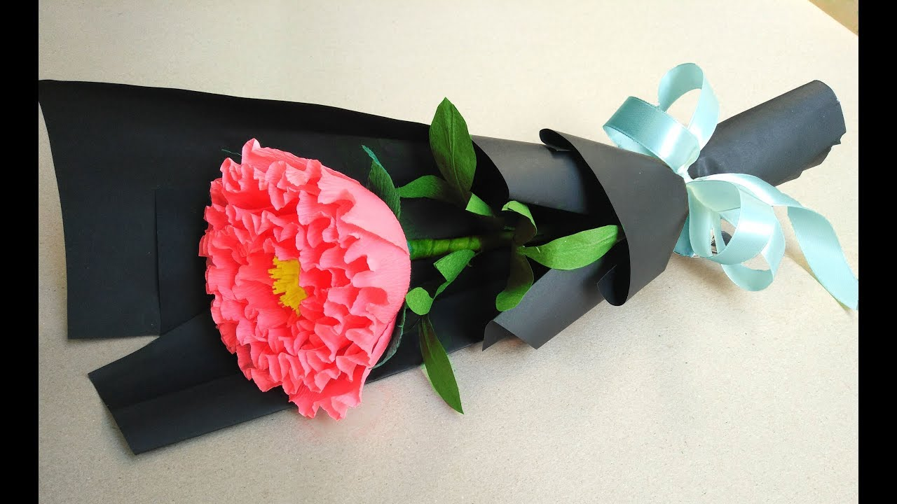 How to make paper flower bouquet at home - Easy Peony Paper Flower ...