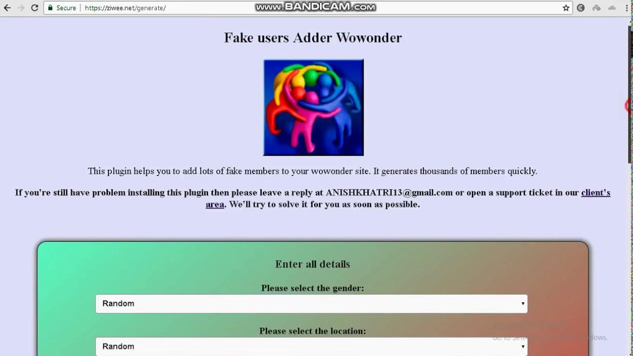Fake user generator for WoWonder 2.1