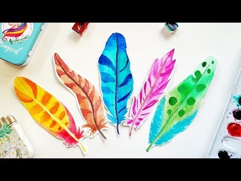 10 Watercolor Feathers Bookmarks Ideas - DIY Easy Painting 5-min Crafts \ How To Paint Feathers