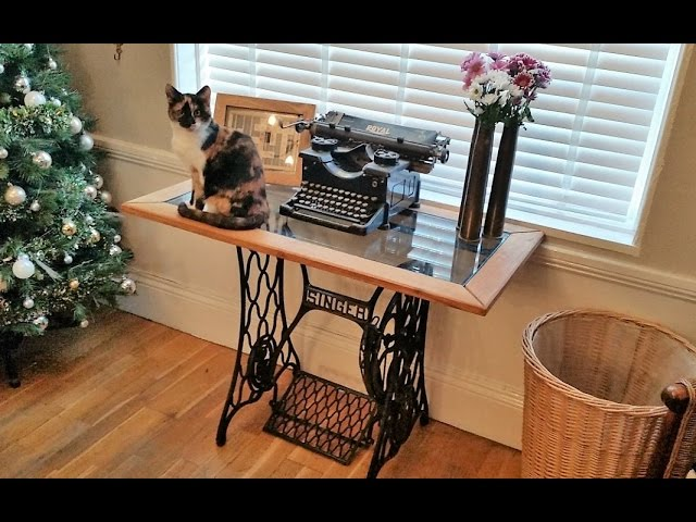 Diy Singer Sewing Machine Oak And Glass Side Table Dsnerv Youtube