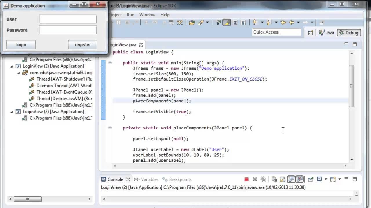 Java Swing tutorials: Our first window