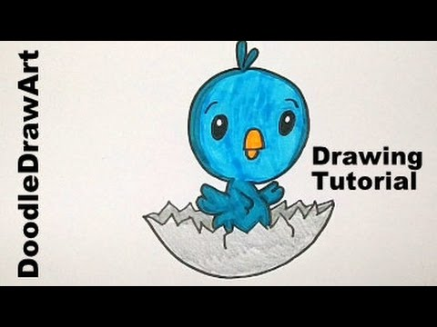 Drawing How To Draw a Cute Cartoon Baby Bird Hatching from its