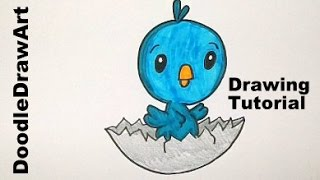 Drawing: How To Draw a Cute Cartoon Baby Bird Hatching from its Shell - Easy Drawing Lesson