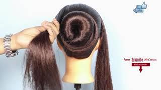 Magic Lock Simple Bun   Very Easy bun hairstyle using magic hair lock   new hairstyle