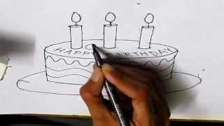 How to draw a Birthday cake step by step for kids children beginners