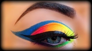 Neon Rainbow Makeup Tutorial inspired by Vintageortacky